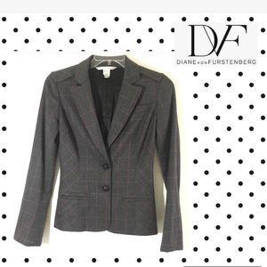 DVF DIANE VON FURSTENBERG silk wool blazer jacket